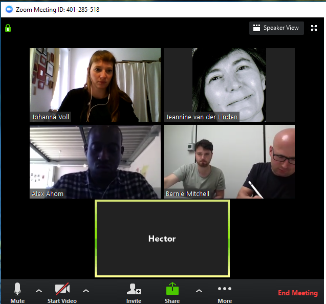 A picture of a computer screen during a zoom video call with five people participating